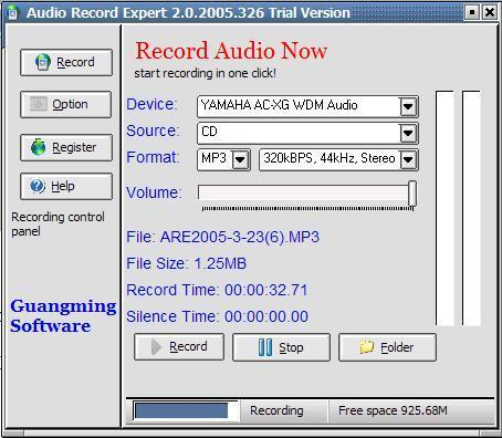 record audio to mp3, wma, ogg with schedule support and silence detection!