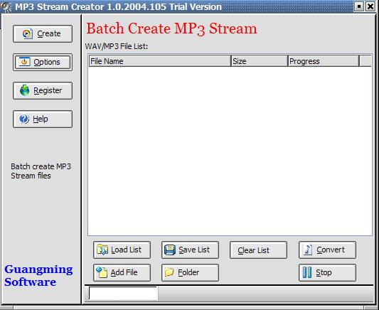 MP3 Stream Creator Screenshot