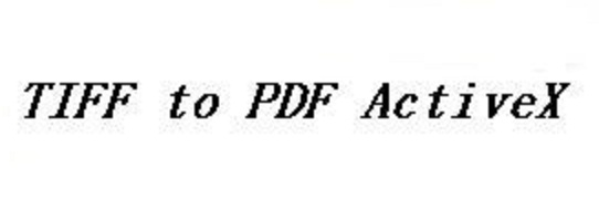 TIFF To PDF ActiveX